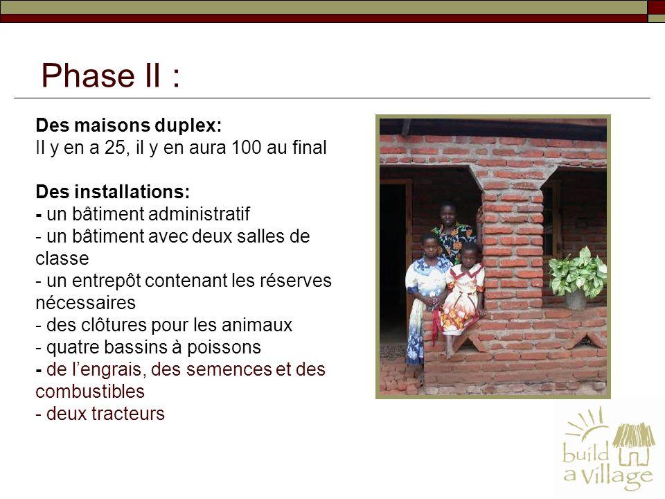 Des maisons duplex: Il y en a 25, il y en aura 100 au final Des installations: - un bâtiment administratif - un bâtiment avec deux salles de classe -