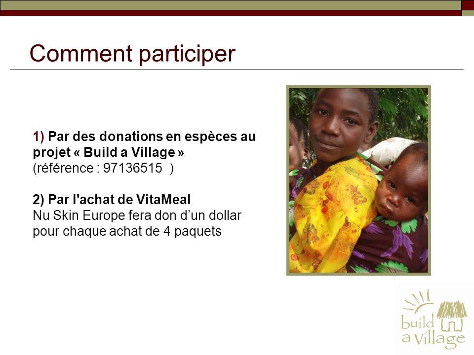 1) Par des donations en espèces au projet « Build a Village » (référence : 97136515 ) 2) Par l'achat de VitaMeal Nu Skin Europe fera don dun dollar po