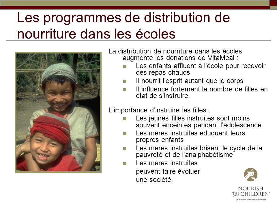Les programmes de distribution de nourriture dans les écoles La distribution de nourriture dans les écoles augmente les donations de VitaMeal : Les en