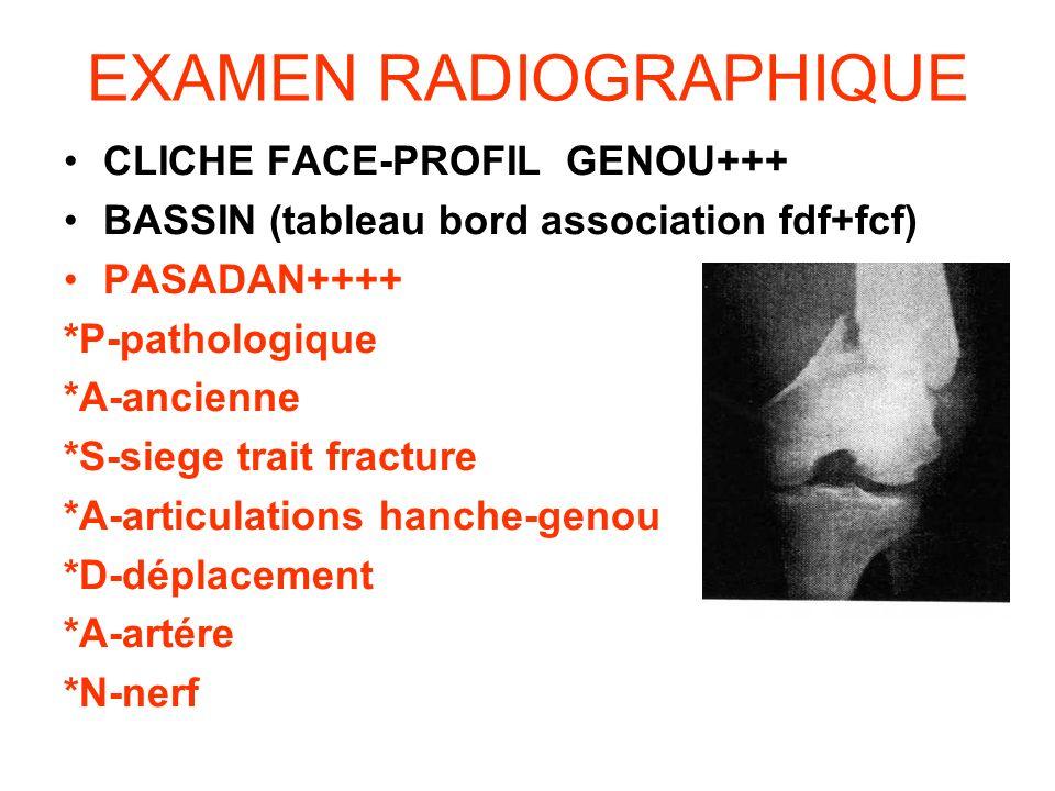 EXAMEN RADIOGRAPHIQUE CLICHE FACE-PROFIL GENOU+++ BASSIN (tableau bord association fdf+fcf) PASADAN++++ *P-pathologique *A-ancienne *S-siege trait fra