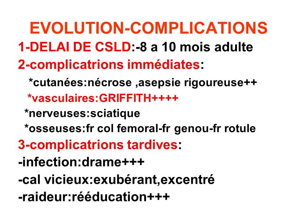 EVOLUTION-COMPLICATIONS 1-DELAI DE CSLD:-8 a 10 mois adulte 2-complicatrions immédiates: *cutanées:nécrose,asepsie rigoureuse++ *vasculaires:GRIFFITH+