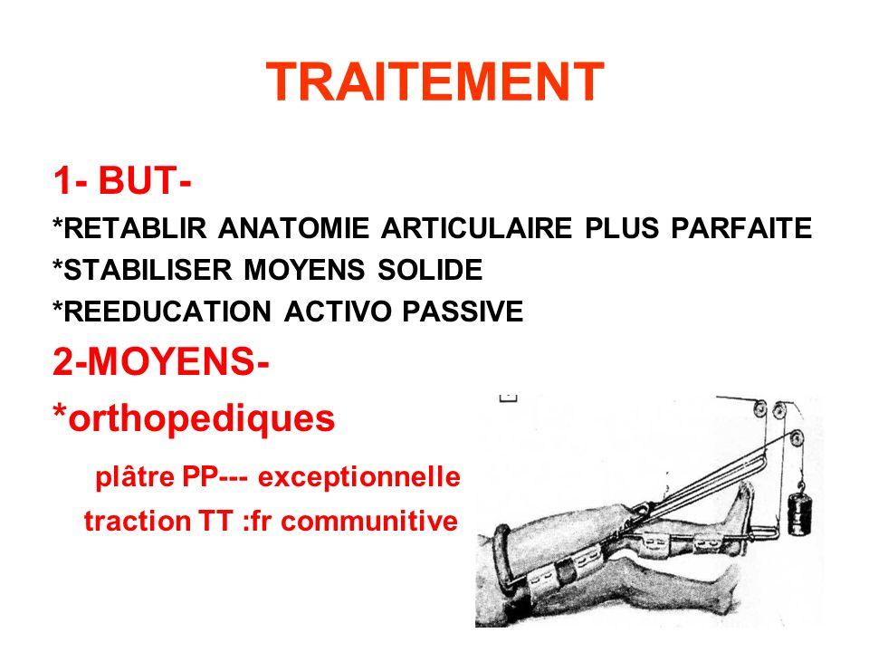 TRAITEMENT 1- BUT- *RETABLIR ANATOMIE ARTICULAIRE PLUS PARFAITE *STABILISER MOYENS SOLIDE *REEDUCATION ACTIVO PASSIVE 2-MOYENS- *orthopediques plâtre