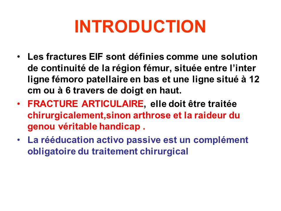 INTRODUCTION Les fractures EIF sont définies comme une solution de continuité de la région fémur, située entre linter ligne fémoro patellaire en bas e
