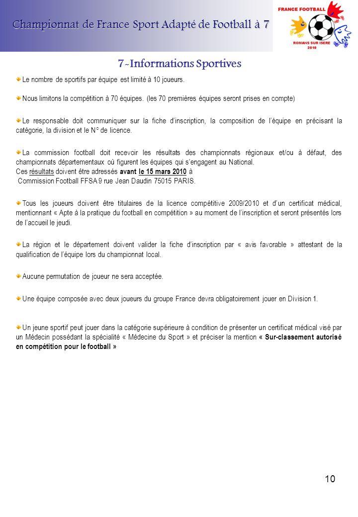Championnat de France Sport Adapté de Football à 7 7-Informations Sportives Le nombre de sportifs par équipe est limité à 10 joueurs. Nous limitons la