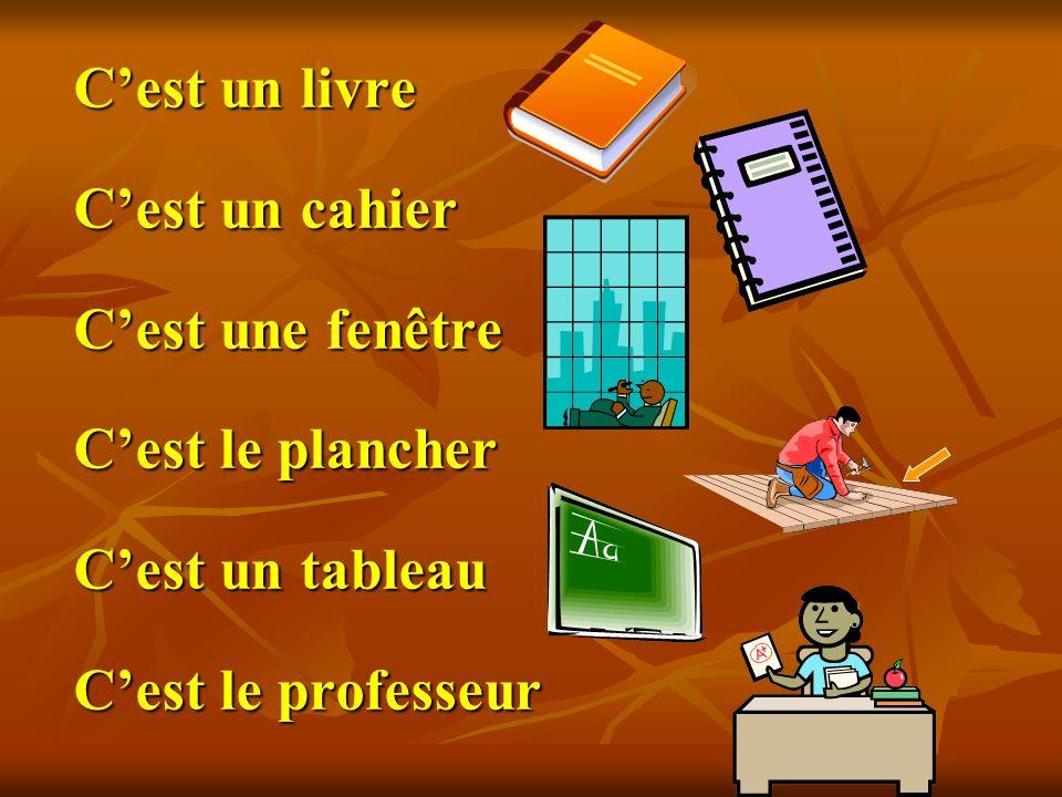 Cest un livre Cest un cahier Cest une fenêtre Cest le plancher Cest un tableau Cest le professeur
