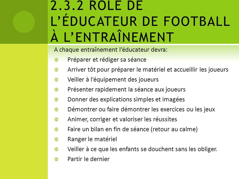 2.3.1 RÔLE DE LÉDUCATEUR DE FOOTBALL EN GÉNÉRAL Léducateur football se doit de connaître les possibilités physiques, physiologiques et intellectuelles