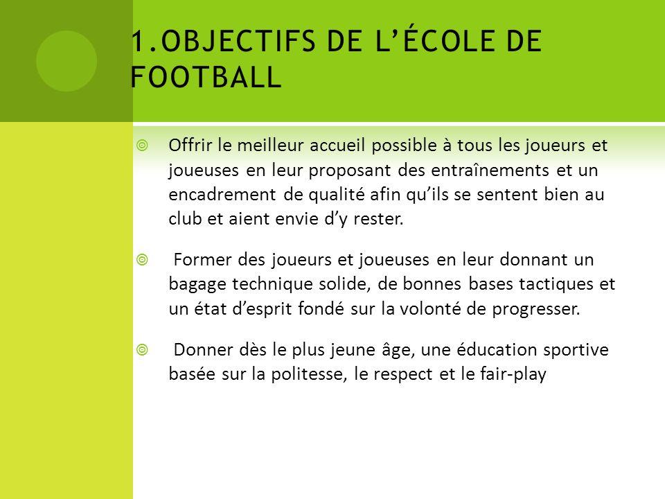 1.OBJECTIFS DE LÉCOLE DE FOOTBALL Offrir le meilleur accueil possible à tous les joueurs et joueuses en leur proposant des entraînements et un encadrement de qualité afin quils se sentent bien au club et aient envie dy rester.