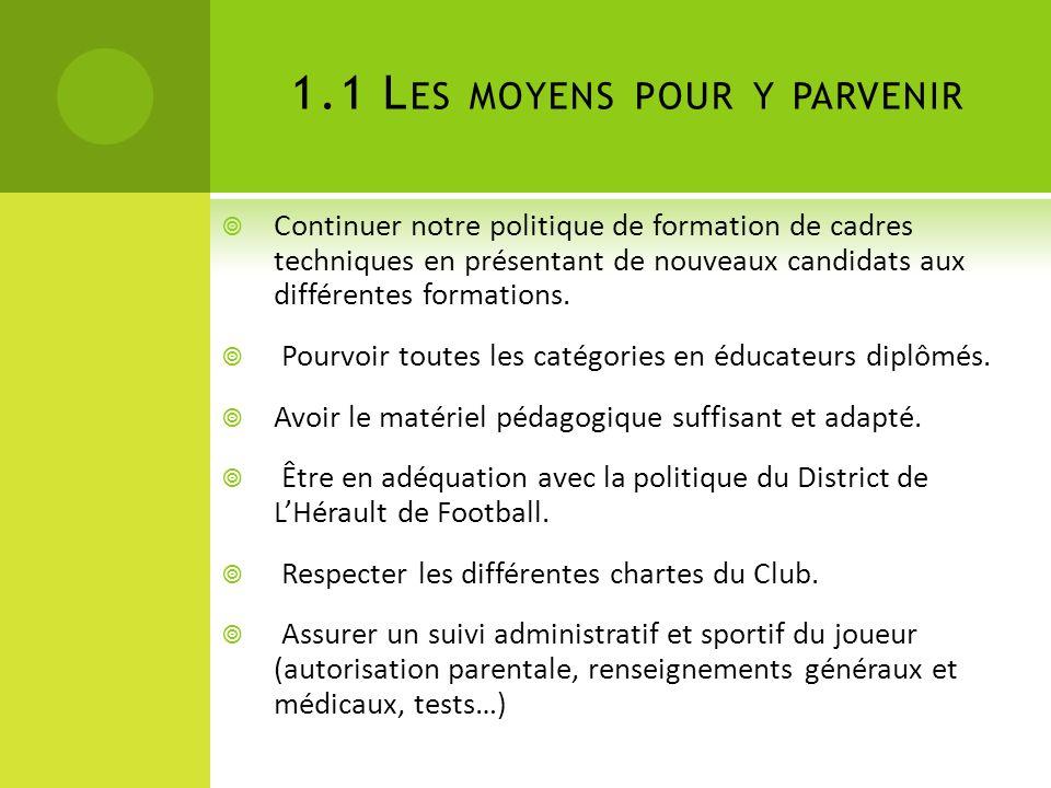 1.1 L ES MOYENS POUR Y PARVENIR Continuer notre politique de formation de cadres techniques en présentant de nouveaux candidats aux différentes formations.