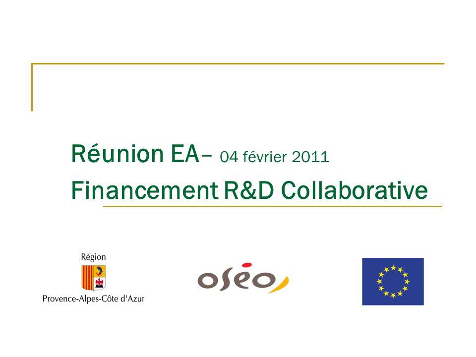 Réunion EA – 04 février 2011 Financement R&D Collaborative