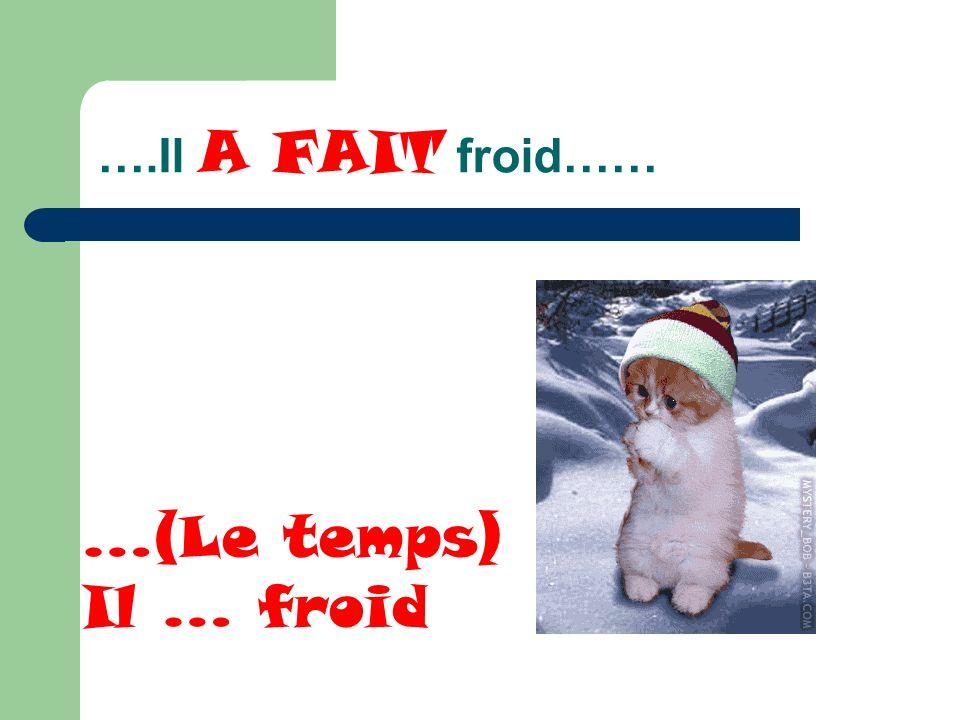 ….Il A FAIT froid…… …(Le temps) Il … froid