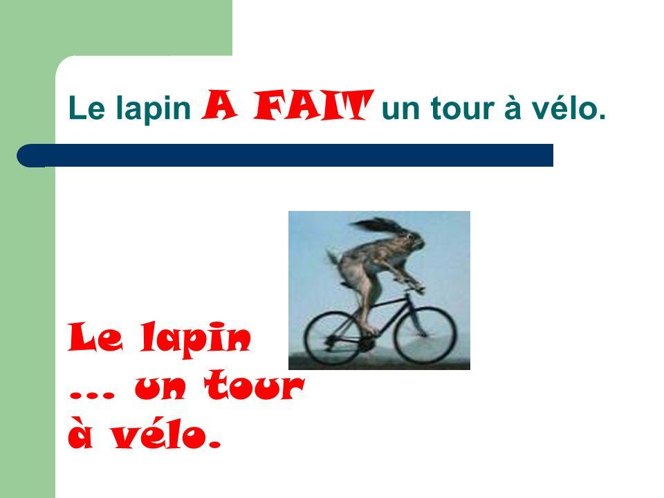 Le lapin A FAIT un tour à vélo. Le lapin … un tour à vélo.