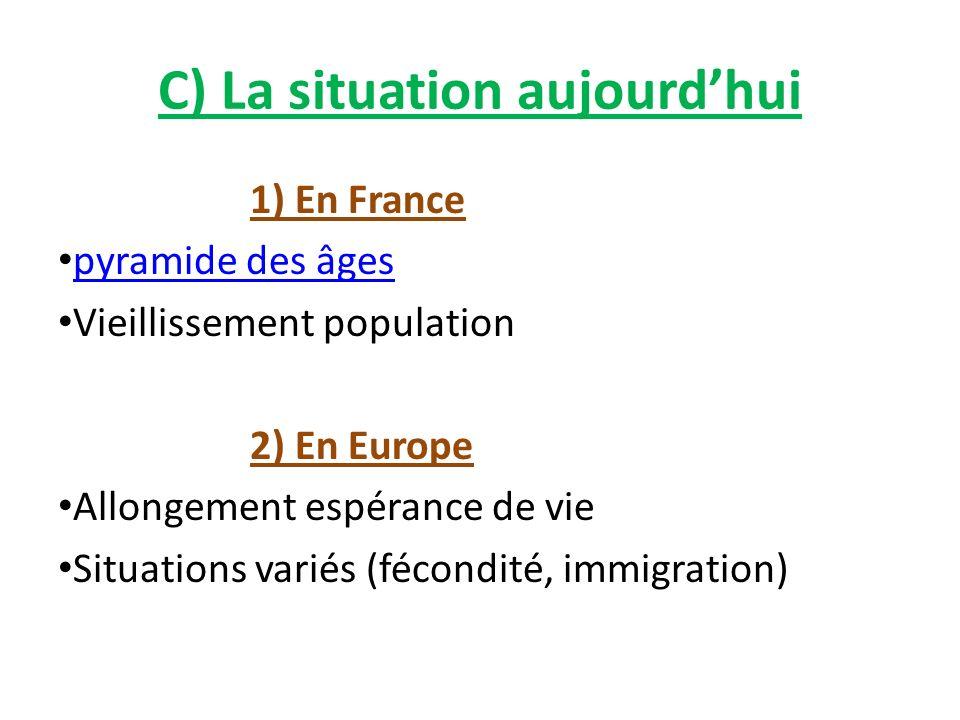 C) La situation aujourdhui 1) En France pyramide des âges Vieillissement population 2) En Europe Allongement espérance de vie Situations variés (fécon