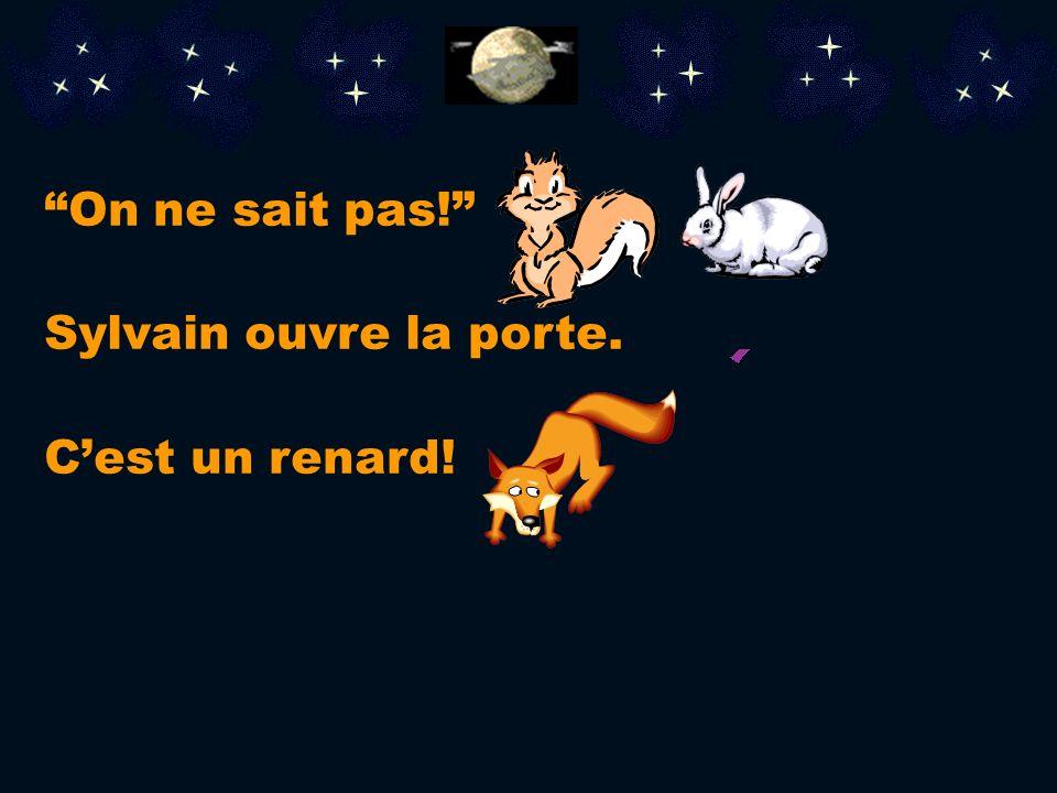 Le lapin entre dans la maison de Sylvain. Il commence à avoir chaud. Sylvain, lécureil et le lapin dorment. Tout à coup, quelquun frappe à la porte! «
