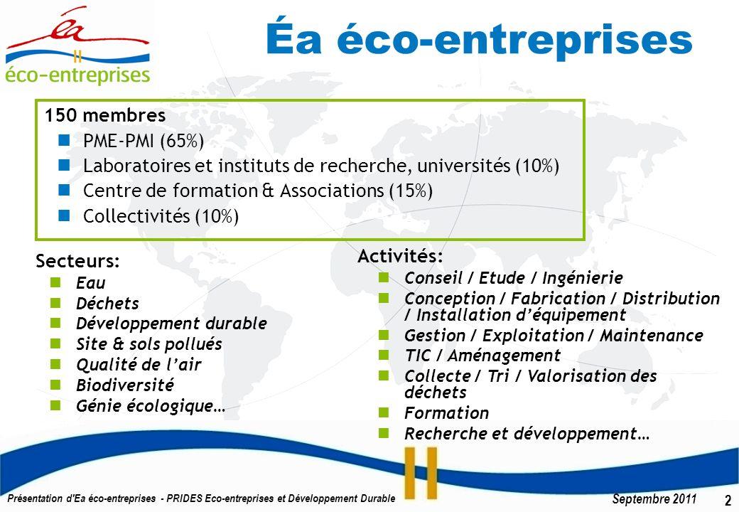 3 Septembre 2011 Présentation d Ea éco-entreprises - PRIDES Eco-entreprises et Développement Durable Nos Membres