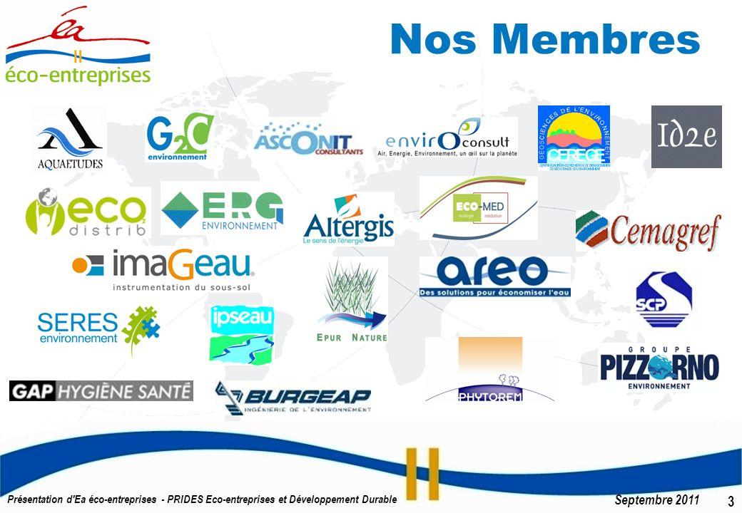 4 Septembre 2011 Présentation d Ea éco-entreprises - PRIDES Eco-entreprises et Développement Durable Mandats régionaux et nationaux Labellisée PRIDES Éco-entreprises et Développement Durable en 2007 Relais régional du Pôle de compétitivité à vocation mondiale EAU labellisé en mai 2010.