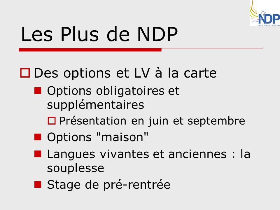 Les Plus de NDP Des options et LV à la carte Options obligatoires et supplémentaires Présentation en juin et septembre Options