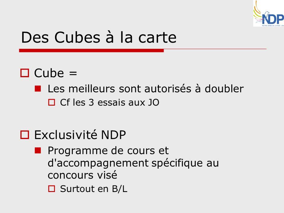 Des Cubes à la carte Cube = Les meilleurs sont autorisés à doubler Cf les 3 essais aux JO Exclusivité NDP Programme de cours et d'accompagnement spéci