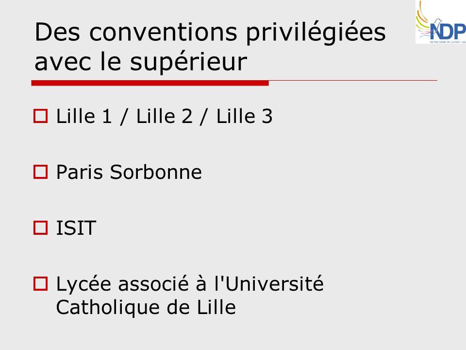 Des conventions privilégiées avec le supérieur Lille 1 / Lille 2 / Lille 3 Paris Sorbonne ISIT Lycée associé à l'Université Catholique de Lille