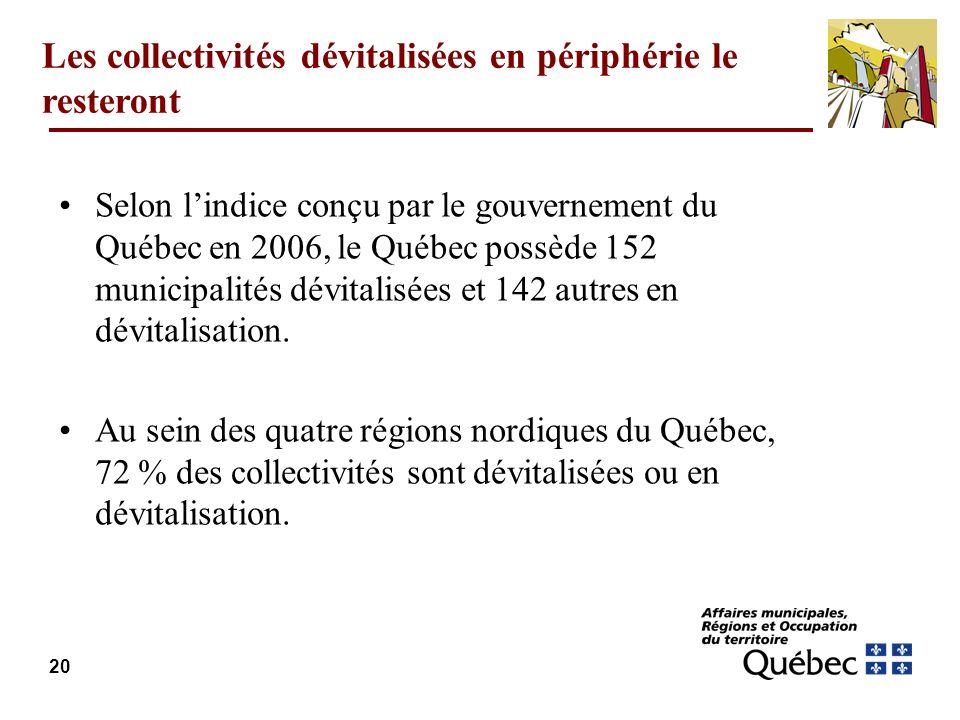 20 Les collectivités dévitalisées en périphérie le resteront Selon lindice conçu par le gouvernement du Québec en 2006, le Québec possède 152 municipalités dévitalisées et 142 autres en dévitalisation.