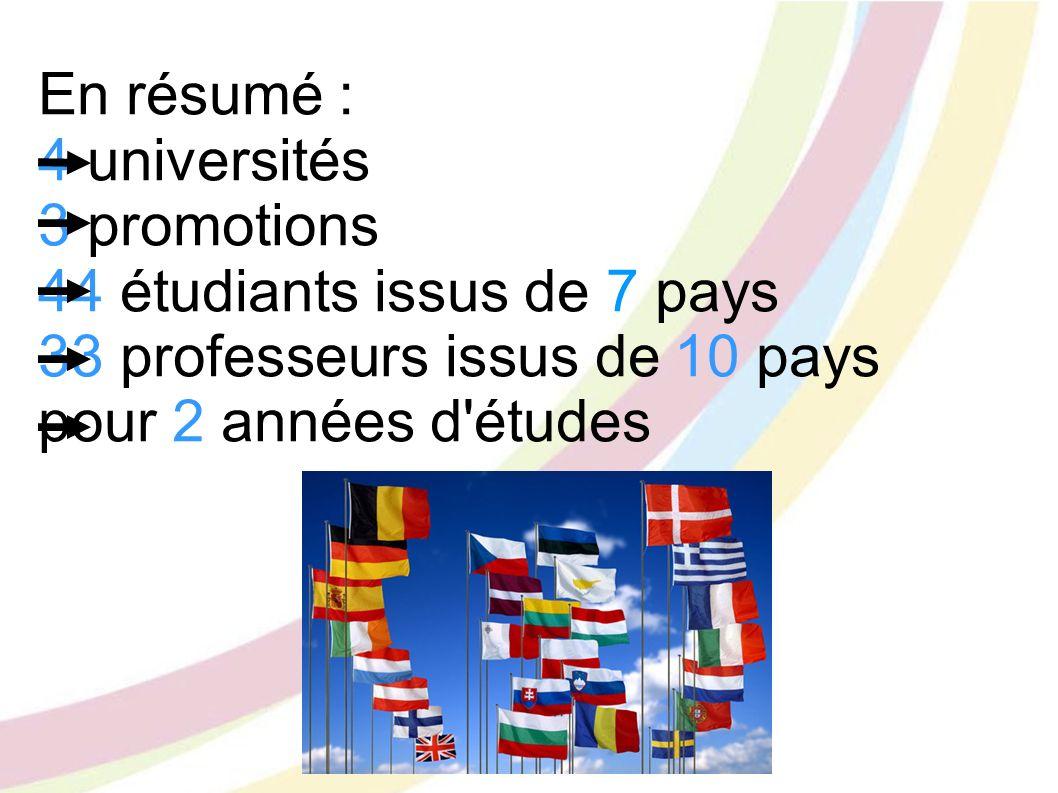 En résumé : 4 universités 3 promotions 44 étudiants issus de 7 pays 33 professeurs issus de 10 pays pour 2 années d'études