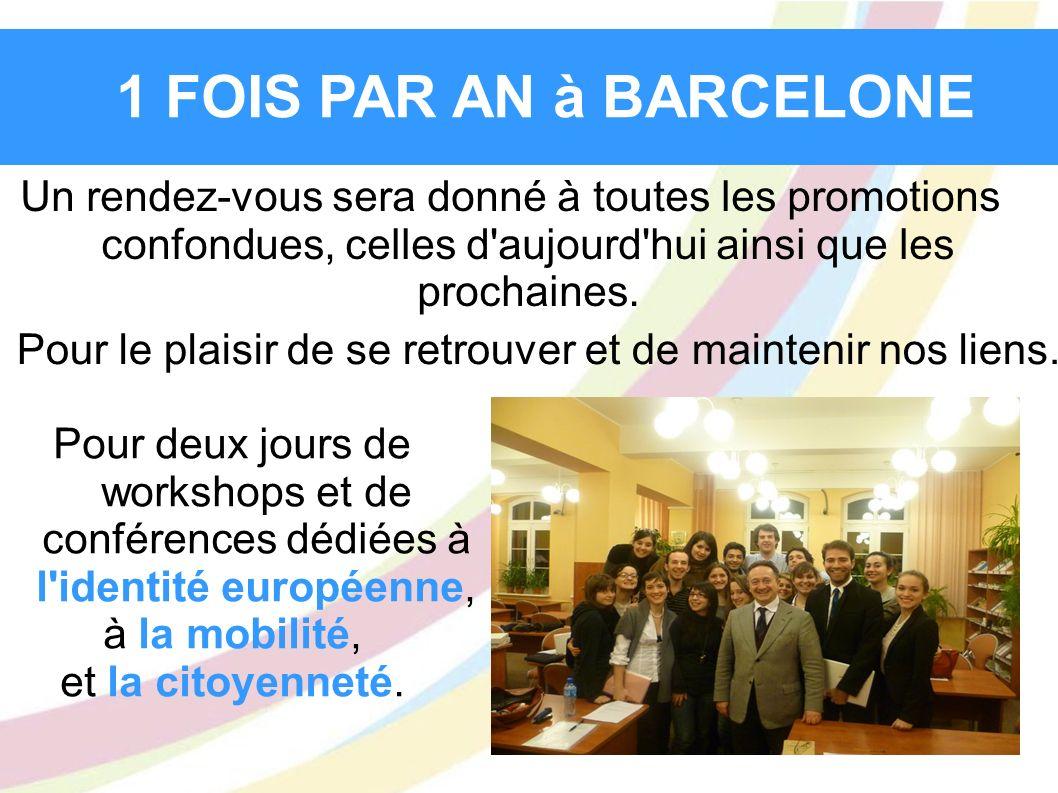 1 FOIS PAR AN à BARCELONE Un rendez-vous sera donné à toutes les promotions confondues, celles d'aujourd'hui ainsi que les prochaines. Pour le plaisir