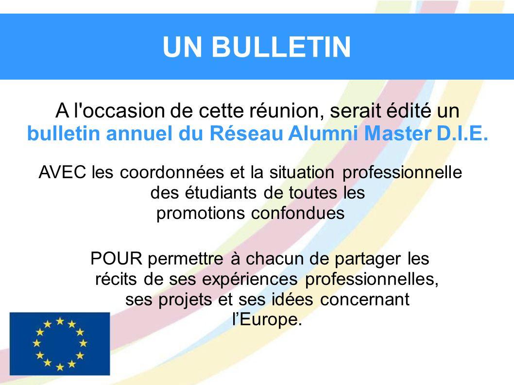 A l'occasion de cette réunion, serait édité un bulletin annuel du Réseau Alumni Master D.I.E. UN BULLETIN AVEC les coordonnées et la situation profess