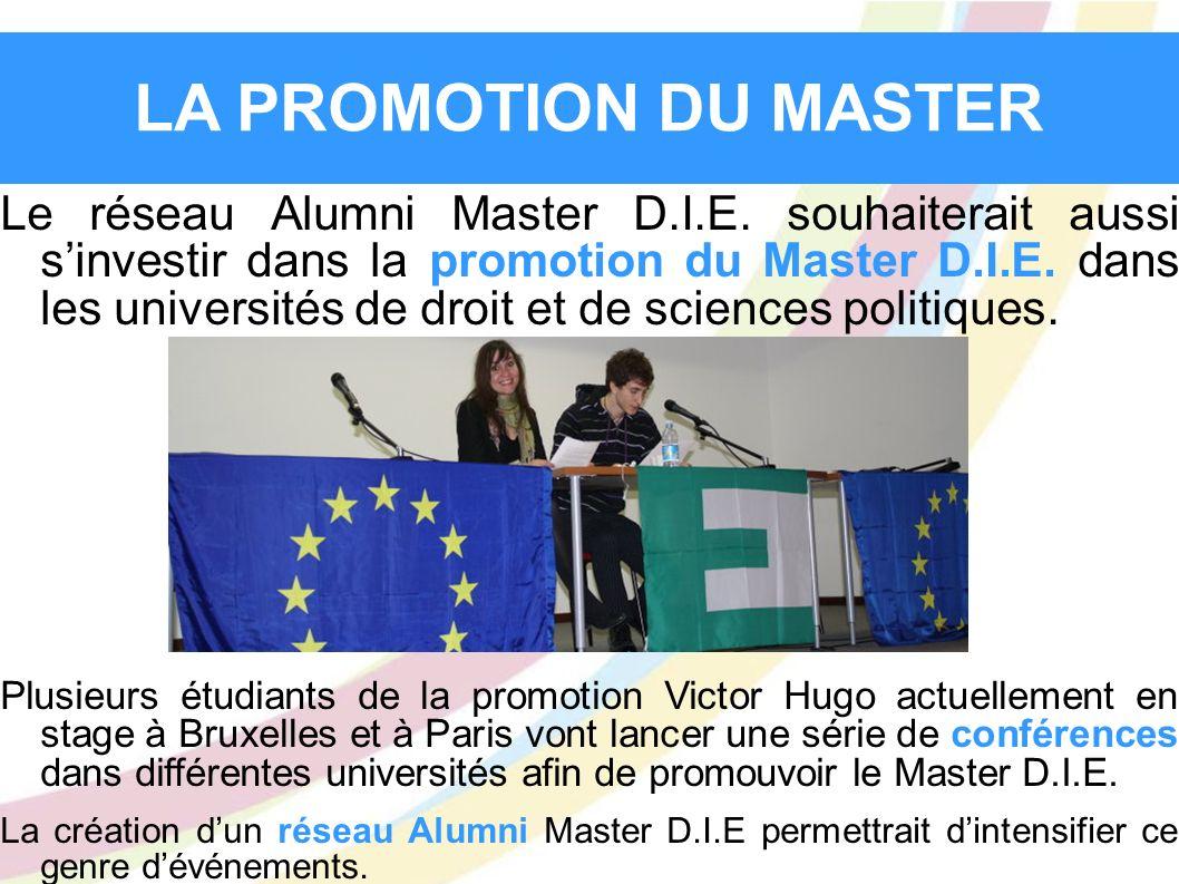 LA PROMOTION DU MASTER Le réseau Alumni Master D.I.E. souhaiterait aussi sinvestir dans la promotion du Master D.I.E. dans les universités de droit et