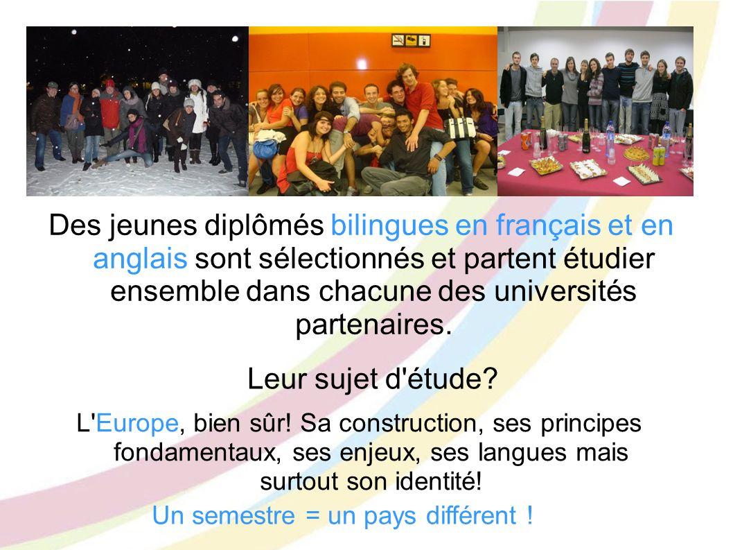 Des jeunes diplômés bilingues en français et en anglais sont sélectionnés et partent étudier ensemble dans chacune des universités partenaires. Leur s