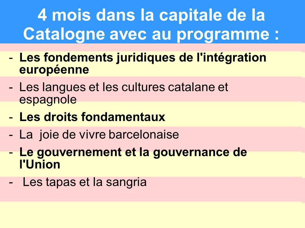 4 mois dans la capitale de la Catalogne avec au programme : -Les fondements juridiques de l'intégration européenne -Les langues et les cultures catala