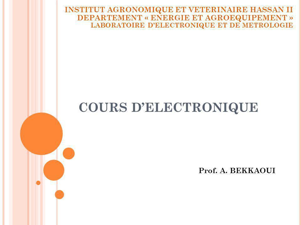COURS DELECTRONIQUE Prof. A. BEKKAOUI INSTITUT AGRONOMIQUE ET VETERINAIRE HASSAN II DEPARTEMENT « ENERGIE ET AGROEQUIPEMENT » LABORATOIRE DELECTRONIQU
