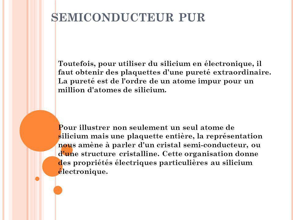 SEMICONDUCTEUR PUR Toutefois, pour utiliser du silicium en électronique, il faut obtenir des plaquettes d'une pureté extraordinaire. La pureté est de