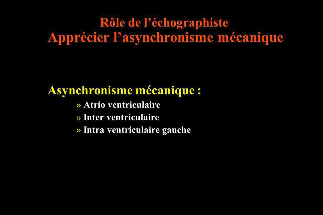 Rôle de léchographiste Apprécier lasynchronisme mécanique Asynchronisme mécanique : »Atrio ventriculaire »Inter ventriculaire »Intra ventriculaire gau