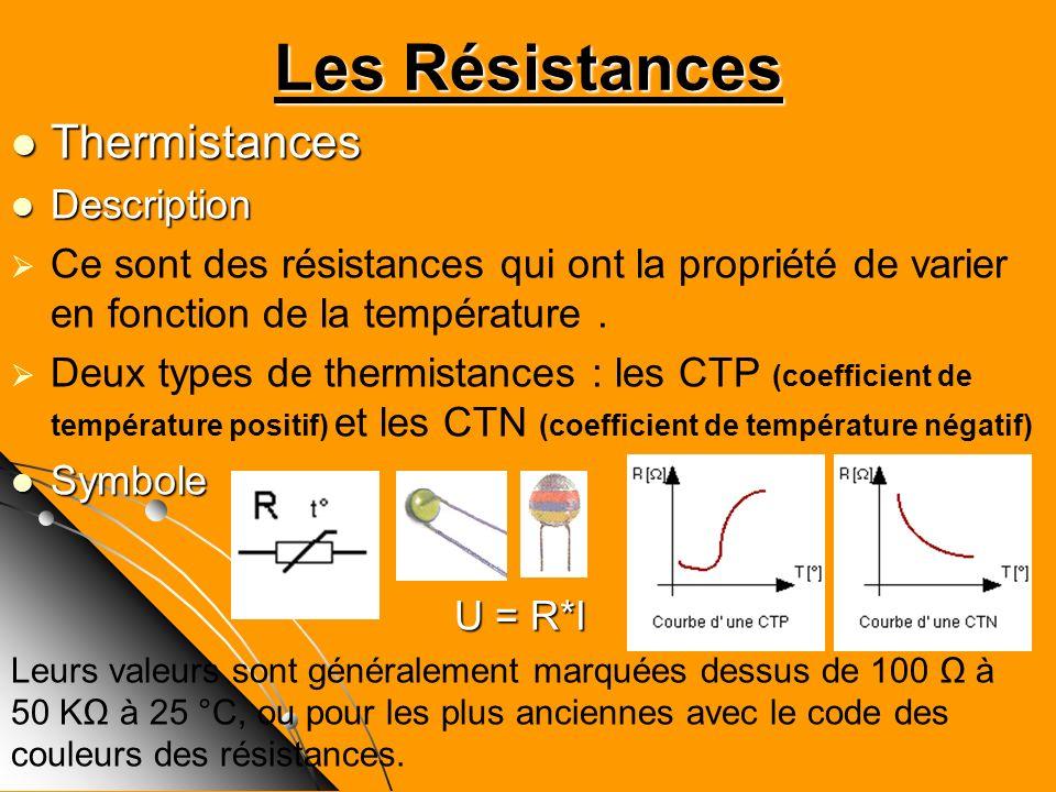 Thermistances Thermistances Description Description Ce sont des résistances qui ont la propriété de varier en fonction de la température. Deux types d