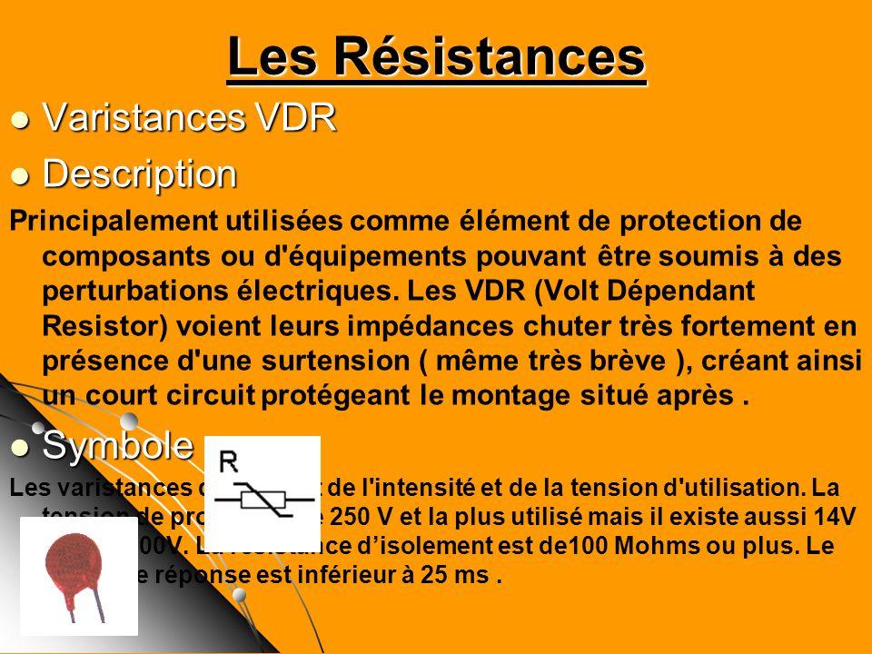 Varistances VDR Varistances VDR Description Description Principalement utilisées comme élément de protection de composants ou d'équipements pouvant êt