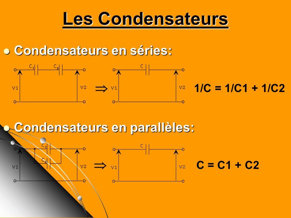 Les Condensateurs Condensateurs en séries: Condensateurs en séries: 1/C = 1/C1 + 1/C2 Condensateurs en parallèles: Condensateurs en parallèles: C = C1