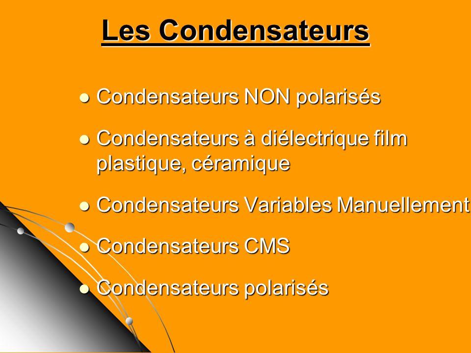 Les Condensateurs Condensateurs NON polarisés Condensateurs NON polarisés Condensateurs à diélectrique film plastique, céramique Condensateurs à diéle