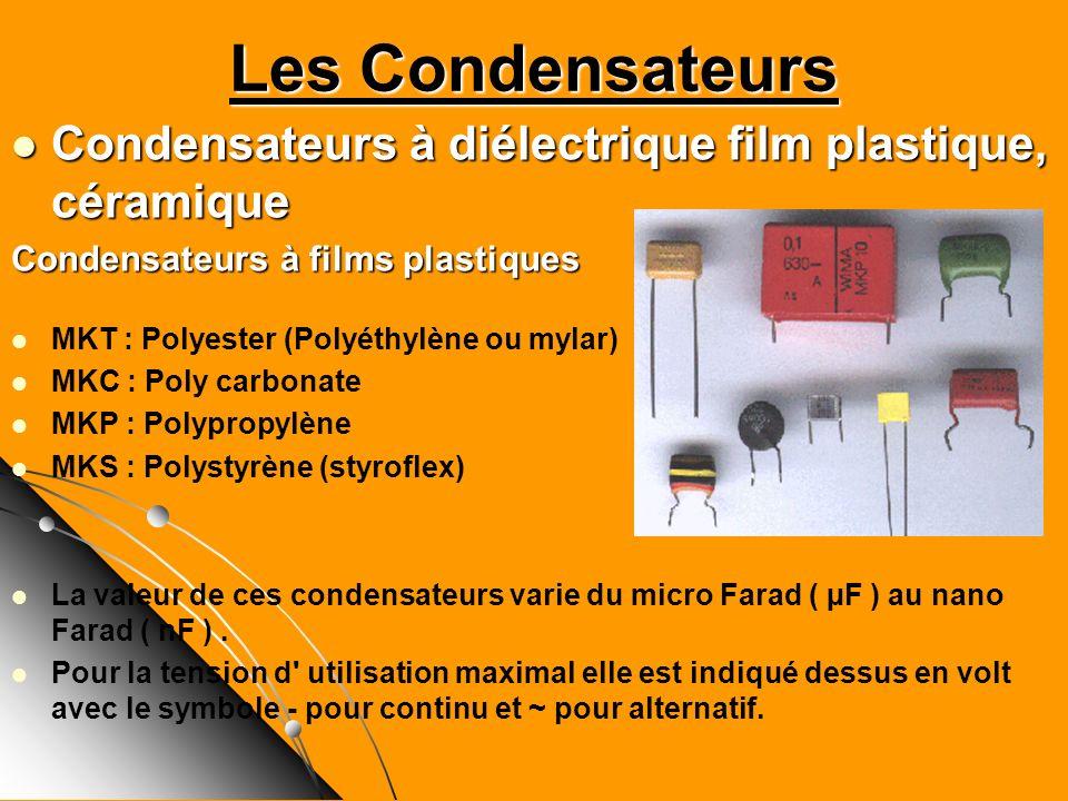 Les Condensateurs Condensateurs à diélectrique film plastique, céramique Condensateurs à diélectrique film plastique, céramique Condensateurs à films