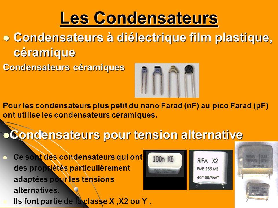 Les Condensateurs Condensateurs à diélectrique film plastique, céramique Condensateurs à diélectrique film plastique, céramique Condensateurs céramiqu