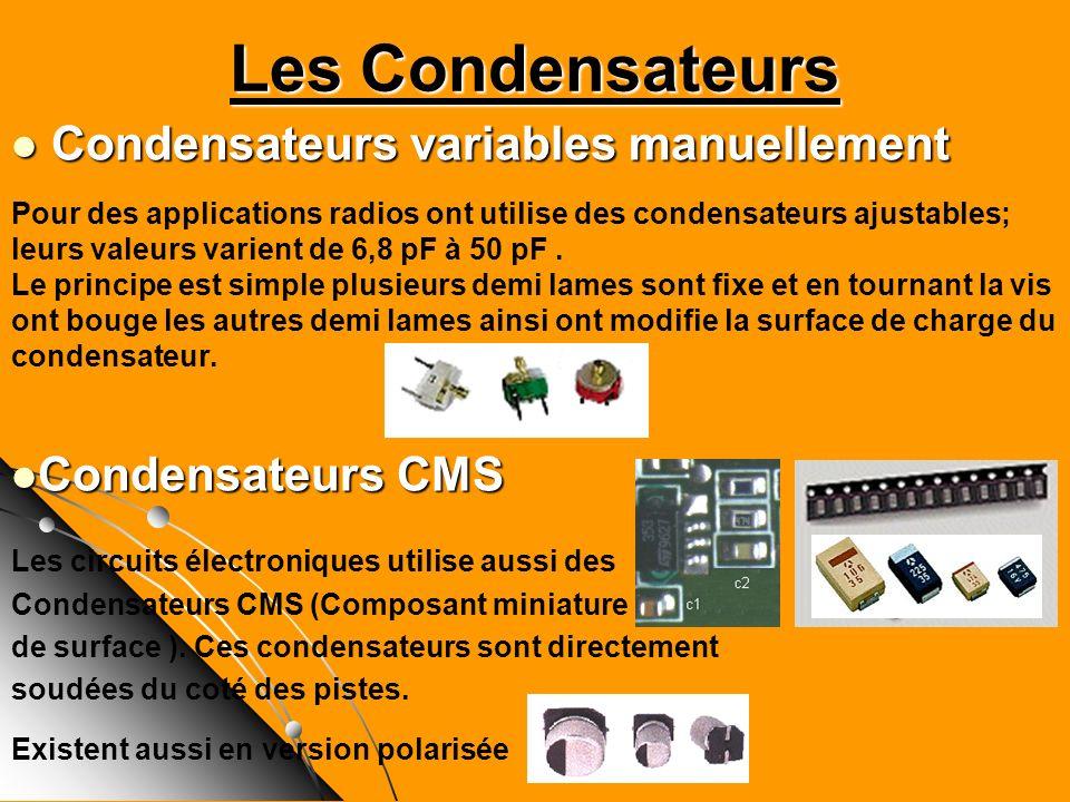 Les Condensateurs Condensateurs variables manuellement Condensateurs variables manuellement Pour des applications radios ont utilise des condensateurs