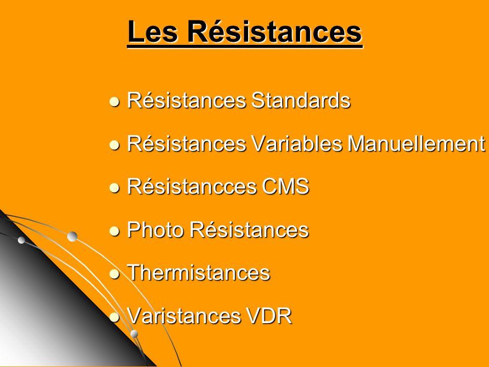 Les Résistances Résistances Standards Résistances Standards Résistances Variables Manuellement Résistances Variables Manuellement Résistancces CMS Rés