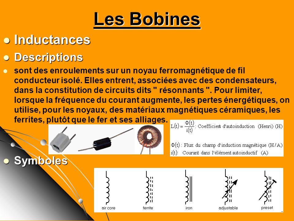 Inductances Inductances Descriptions Descriptions sont des enroulements sur un noyau ferromagnétique de fil conducteur isolé. Elles entrent, associées