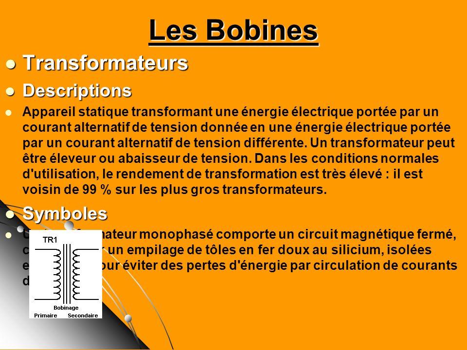 Transformateurs Transformateurs Descriptions Descriptions Appareil statique transformant une énergie électrique portée par un courant alternatif de te