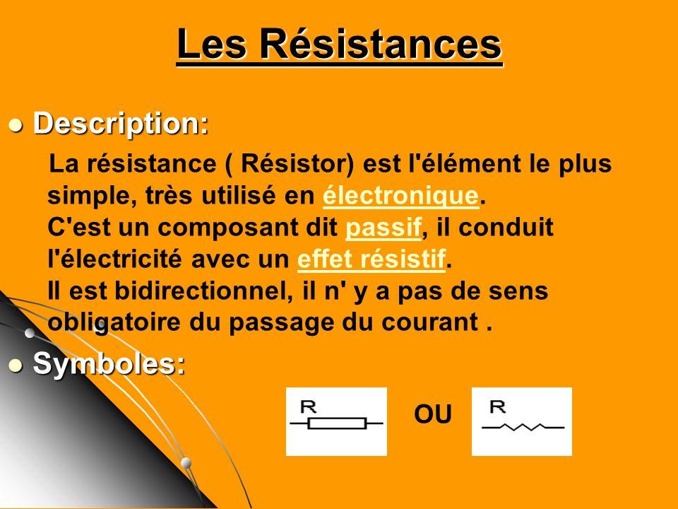 Les Résistances Description: Description: La résistance ( Résistor) est l'élément le plus simple, très utilisé en électronique. C'est un composant dit