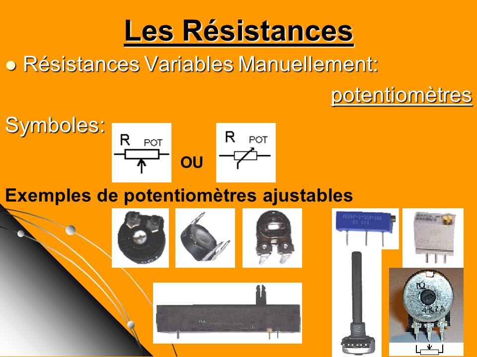 Les Résistances Résistances Variables Manuellement: Résistances Variables Manuellement:potentiomètresSymboles: OU Exemples de potentiomètres ajustable
