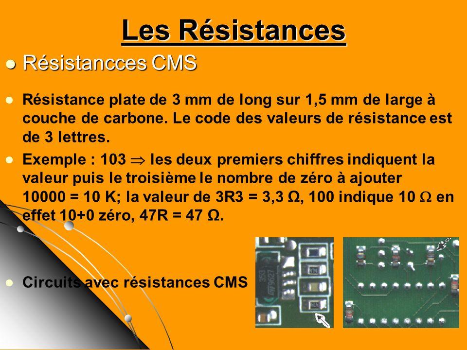 Les Résistances Résistancces CMS Résistancces CMS Résistance plate de 3 mm de long sur 1,5 mm de large à couche de carbone. Le code des valeurs de rés