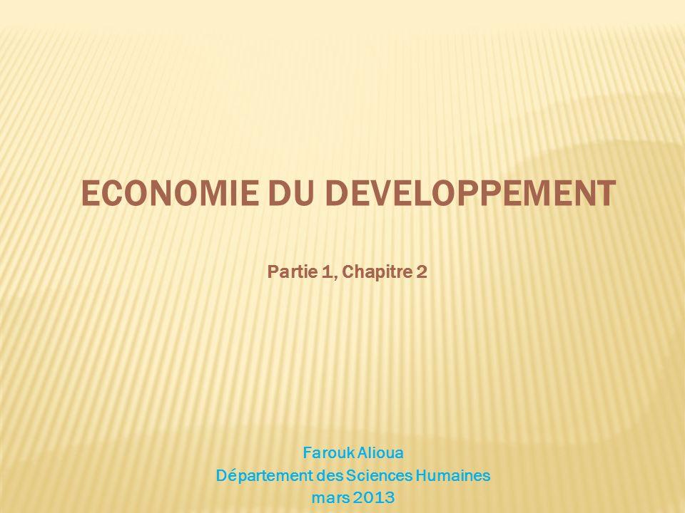 ECONOMIE DU DEVELOPPEMENT Partie 1, Chapitre 2 Farouk Alioua Département des Sciences Humaines mars 2013