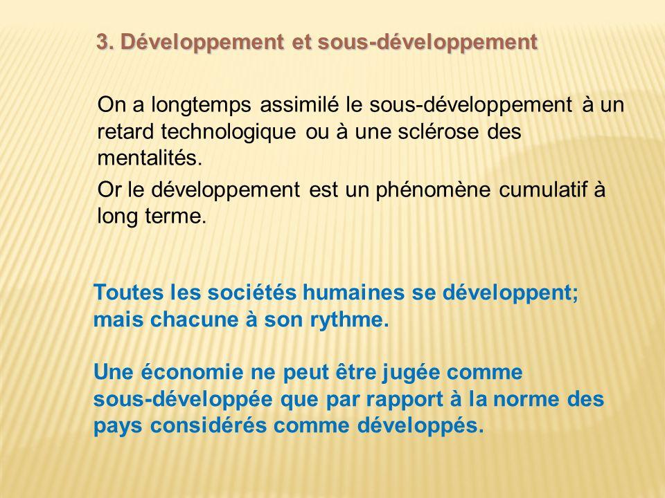 3. Développement et sous-développement On a longtemps assimilé le sous-développement à un retard technologique ou à une sclérose des mentalités. Or le