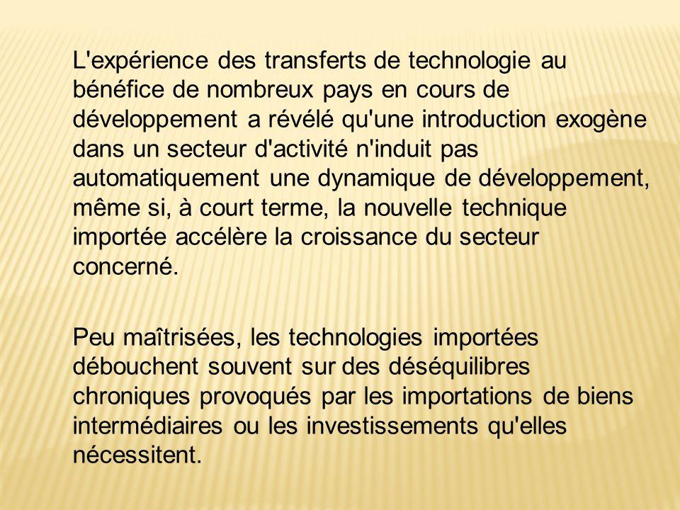 L'expérience des transferts de technologie au bénéfice de nombreux pays en cours de développement a révélé qu'une introduction exogène dans un secteur