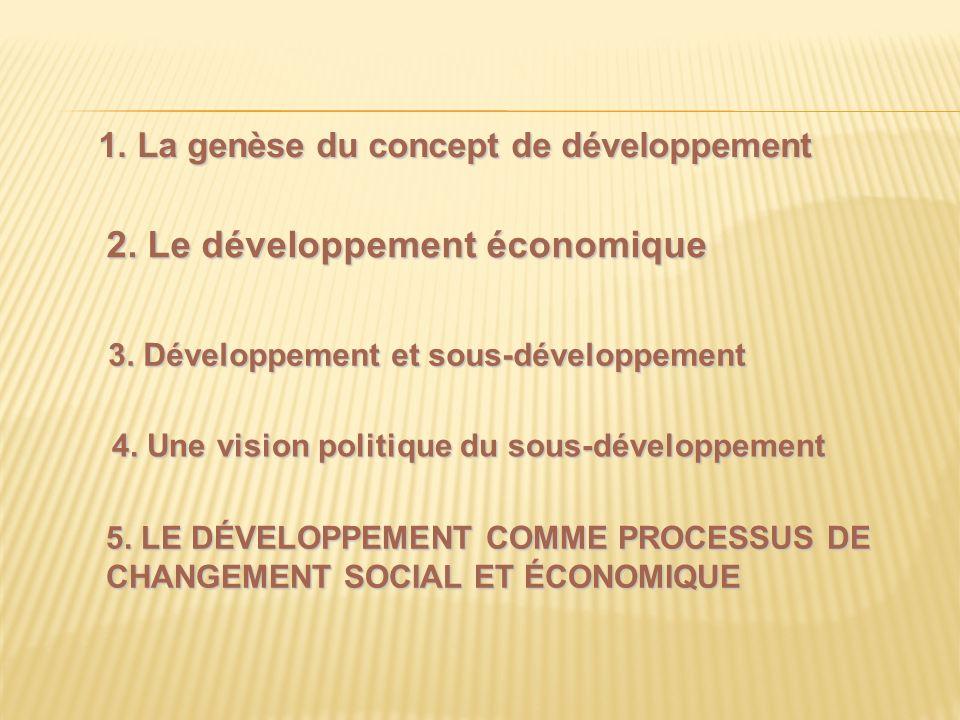 1. La genèse du concept de développement 5. LE DÉVELOPPEMENT COMME PROCESSUS DE CHANGEMENT SOCIAL ET ÉCONOMIQUE 4. Une vision politique du sous-dévelo