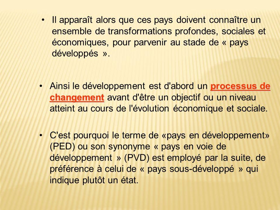 processus de changementAinsi le développement est d'abord un processus de changement avant d'être un objectif ou un niveau atteint au cours de l'évolu